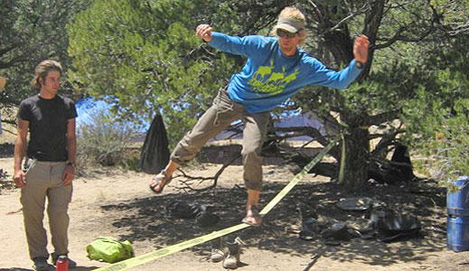 Having fun in the field with a little slacklining.